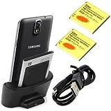 Negro Cargador Base Dock docking station + 2X 3200 mah batería Para Samsung Galaxy note 3 N9000 N9005