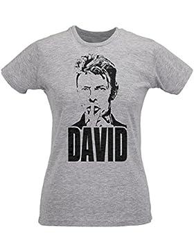 Camiseta Mujer Slim Bowie Rock Icon - Maglietta 100% algodòn ring spun LaMAGLIERIA