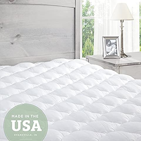 Mattress Pad with Fitted Skirt - Extra Plush Topper Found in Marriott Hotels - Made in the USA, Small Single: 75 x 190