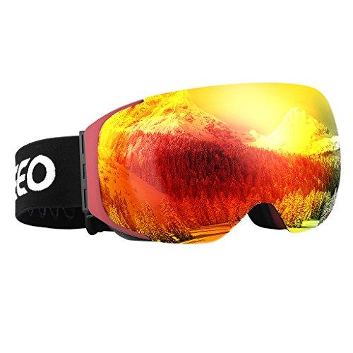 Enkeeo - Gafas de Esquí, de Snowboard (Lente de dual capa Anti-Niebla, 100% UV400 protección, marco doblable, correa antideslizante, 3 capas de espuma resistente al viento) (Rojo)