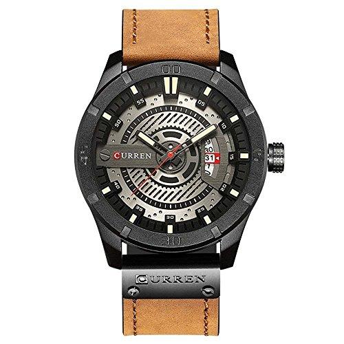 Curren Quartz Uhren Herren, analoge quartzuhr, multifunktionale milit?rische Sport Wristwatchm, wasserdicht Lederarmband mit Datumsanzeige 8301 (Hellbraun)