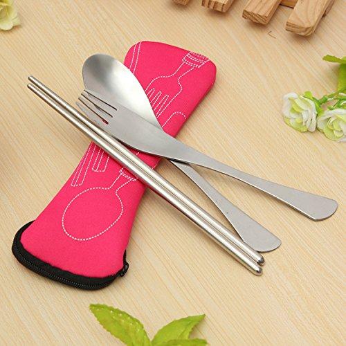 TENGGO Traveling Camping Picnic Spoon Fork Chopsticks Spork Cutlery-Rose Red