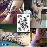 Tatuaggio Temporaneo Realistico di artista 'B&W Flowers & Butterfly' - ArtWear Tattoo Flowers - B0117 M