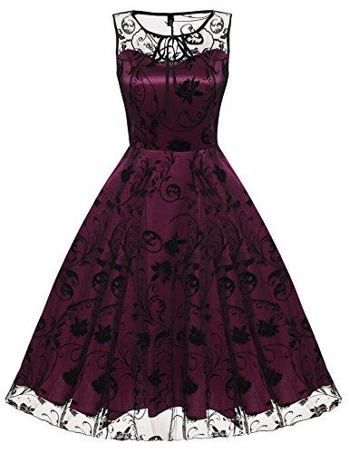 CRAVOG Damen Vintage Rockabilly Partykleid Cocktailkleid Gitter Abendkleid Knielang Kleid, EU 36-38/(Asian S)