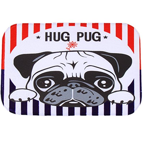 O-C Hug Pug Outdoor Indoor Antiskid Absorbent Bedroom Livingroom Bath Mat Bathroom Shower Rugs Doormats