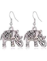 284646cc1 Blazing Autumn Silver Color Elephant Long Dangle Earring