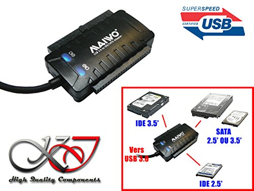 Kalea-Informatique-Adattatore convertitore IDE e SATA verso USB 3.0(USB3SuperSpeed 5GBps)-Chipset ad alte prestazioni is611-Supporta 3dischi in stesso tempo-Compatibile Windows 2000, Me, XP, Vista, Seven, 8, 10, Linux e Mac