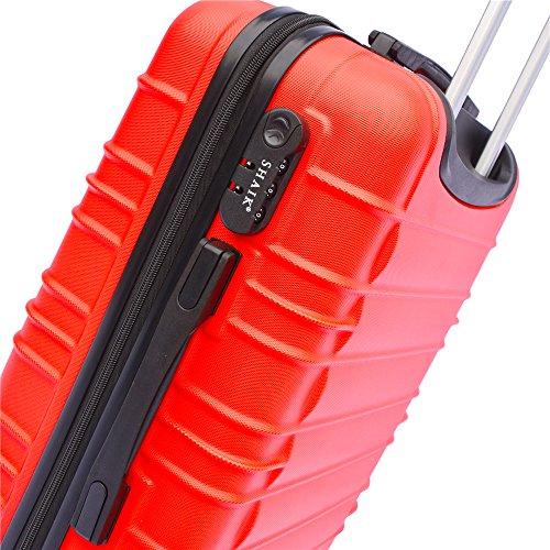 SHAIK SerieCLASSIC JFK Design Hartschalen Trolley, Koffer, Reisekoffer 4 Doppelrollen Zwillingsrollen, Zahlenschloss (Set, Rot) - 3