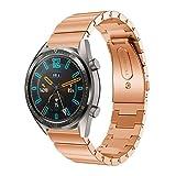 POJIETT Correa para Huawei Watch GT de Acero Inoxidable Reloj Pulsera Actividad Inteligente Watch Band Repuesto de Correa de Reemplazo Wristband Reloj Banda Deportiva Watch Strap 22mm (Negro/Dorado)