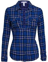 Femmes Chemisier T-Shirt classiques à carreaux manches longues chemise de flanelle patte de col