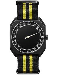 slow Jo 27 - Nylon Noir / jaune, Boîte Acier Plaqué Noir, Cadran Noir - Swiss Made