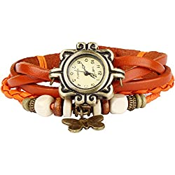 Bohemian Style [Waterproof] Retro Handmade Leather [Butterfly Charm Pendant Wrist Watch] Fashionable Luxury Stylish Weave Around [Wrap Watch Bracelet] For Women Ladies Girl [Scratch Resistant] Orange