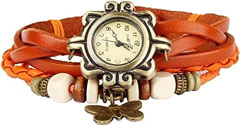 Bohemian Style [Waterproof] Retro Handmade Leather [Butterfly Charm Pendant Wrist Watch] Fashionable Luxury Stylish Weave Around [Wrap Watch Bracelet] For Women Ladies Girl [Scratch Resistant] Orange