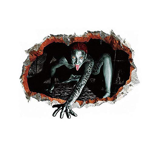 Ruiting Halloween Wand Aufkleber Vivid 3D Brick Loch Ansicht von Spooky Horrific Blutige Female Ge Scary Ghost Banshee Verkratzen The Wall Removable Art Home Decoration Home dekor