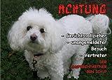 INDIGOS UG - Türschild FunSchild - SE315 DIN A5 PVC 3mm stabil ACHTUNG Hund BICHON FRISE - für Käfig, Zwinger, Haustier, Tür, Tier, Aquarium