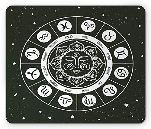 Zodiac Mouse Pad, Mandala Style Horoscope Wheel Showing Zodiac Signs with Celestial Backdrop Gaming Mousepad Office Mouse Mat Charcoal Grey White Headset Charcoal