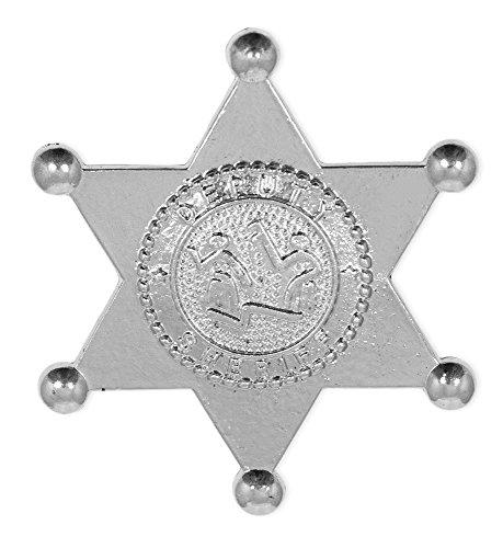Sheriff Deputy Stern aus Metall - Silber - Zum Cowboy und Western Kostüm (Sheriff Deputy Kostüm)