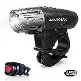OutGeax LED Fahrradlicht Set - Aufladbare Wasserdichte Fahrradlampe mit USB Anschluss - Super Hell 300 Lm 4 Lichtmodi Fahrradbeleuchtung - kostenlos LED Rücklicht für Sicheres Nachtfahren