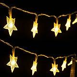 LED Lichterkette Sterne 4M/13.2ft 40 LEDs String Licht Sternenlicht, Wasserdichte Innen und Außen, LED Lichterketten Batterie für Weihnachten /Deko /Party, Weihnachtsbeleuchtung (Warmweiß)