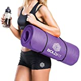 BOLDFIT 1/2-Inch Extra-Thick Yoga and Exercise Mat with Carrying Strap (Purple)