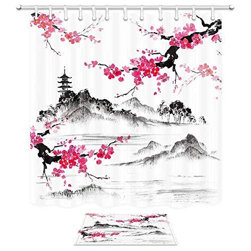 Aliyz Japanische Aquarell Frühling Landschaft Duschvorhänge Mount Fuji Kirschblüten Sakura Blume Stoff 71X71in Duschvorhang15.7X23.6in Bad Fußmatte Bad Teppiche - Bottom Mount Licht