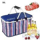 Oumers Borsa da picnic,Borsa frigo per bevande a base di carne per barbecue Cestino pieghevole pieghevole di grandi dimensioni per feste all'aperto, picnic, barbecue - blu