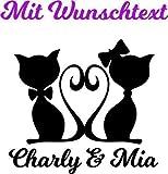 Wandtattoo - Wandsticker - Auto Aufkleber ***Kater/Katze/Paar inkl. Ihrem Wunschtext*** - (Größen und Farbauswahl)