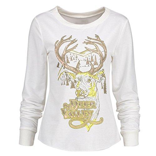 UFODB Christmas Sweater Damen Oversize Sweatshirt Oversized Pullover Merry Rentier Weihnachten Pulli Ugly Kapuzenpullover Langarm Weihnachts Xmas Outwear