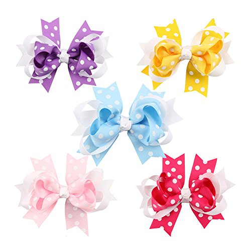 10pc-white-dot-boutique-windmill-style-hair-bows-girls-baby-alligator-clip-grosgrain-ribbon-headband