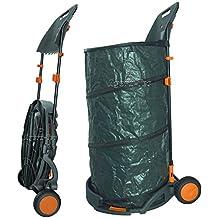 Agora-Tec foglia sacco/Sack giardino, 160l si regge da sé mobile con ruote e con supporto faltbahr per fogliame ramazza e spazzola
