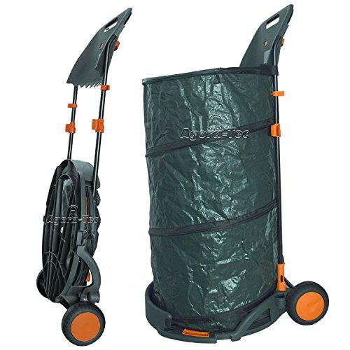 Agora-tec selbstaufstellend 160 cm/contenance sac de rangement avec roues et faltbahr avec support pour râteau et balai