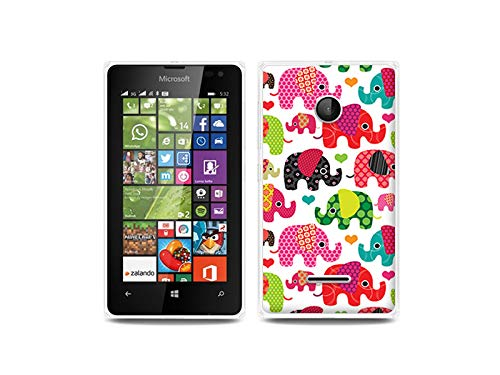 etuo Handyhülle für Microsoft Lumia 532 - Hülle, Silikon, Gummi Schutzhülle - Bunte Elefanten