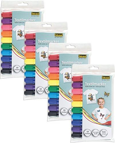 Idena 60035 Textilmarker für helle Stoffe, 10 Farben (4er Pack)
