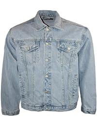 Mens Light Aztec Jeans Designer Long Sleeved Collared Denim Jacket Size 3XL