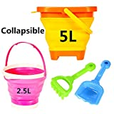 Kids Beach Toy Set Pails/Collapsible Buckets with 1 Shovel and 1 Rake Orange & Pink Perfect for Travel
