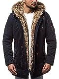 OZONEE Herren Winterjacke Parka Parkajacke Jacke Kapuzenjacke Wärmejacke Wintermantel Coat Wärmemantel Warm Modern Camouflage Täglichen 777/300K DUNKELBLAU 2XL