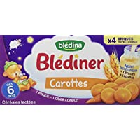Blédina Blédiner Céréales Lactées Carottes dès 6 Mois 4 briques de 25 cl -