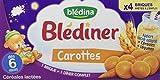 Blédina Blédiner Céréales Lactées Carottes dès 6 Mois 4 briques de 25 cl - Lot de 3