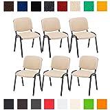 Die besten Stapelstühle - CLP 6X Konferenzstuhl Ken mit Stoffbezug oder Kunstlederbezug Bewertungen