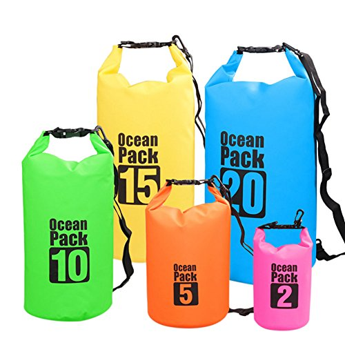 Meijunter Waterproof Dry Bag Strap Swimming Boating Water Sports Outdoor Activities Storage Yellow 15L