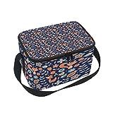 Lunchtasche mit süßem Fuchs-Vogel-Muster, Kühltasche für Picknick, Schultergurt, Lunchbox