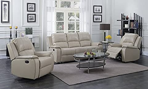 Beige Taupe Reclining 3 Seater Sofa + 2 Recliner Armchairs Suite JENSON (3+1+1)