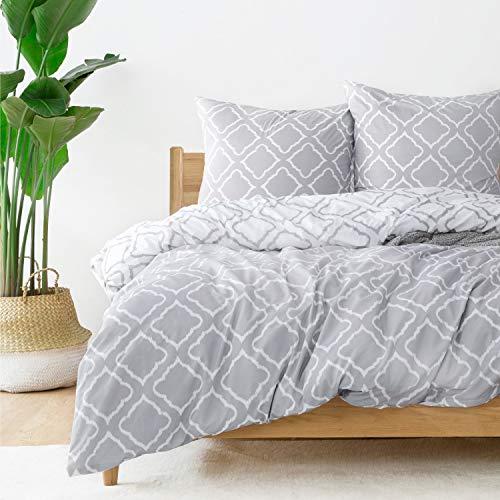 Bedsure Bettwäsche 155x220cm mit grauem Gittermuster 3 teilig - Weiche Bettbezüge Set mit 2 80x80cm Kissenbezug - Hochwertige atmungsaktive Bettwäscheset mit Reißverschluss -