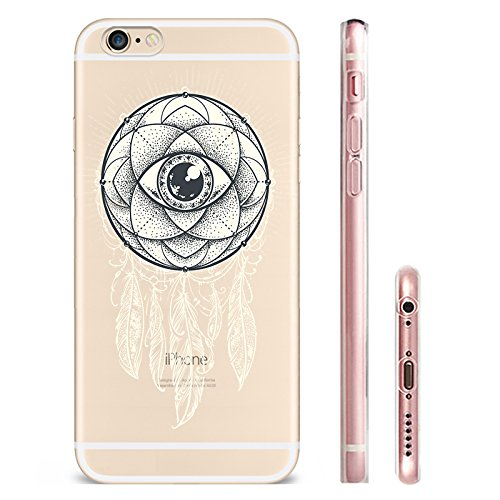 IPhone 6 plus Hülle, Schutzhülle Case Silikon- Clear Ultra Dünn Durchsichtige Backcover TPU Case für iPhone 6plus 6splus Traumfänger Schwarz
