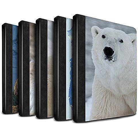 Stuff4 PU Cuero Funda/Carcasa/Folio Libro en Para el Apple iPad Air 2 tablet / serie: Ártico Animales - 6pcs Paquete
