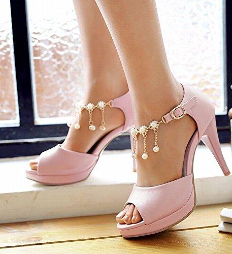 Mee Shoes Damen modern reizvoll ankle strap Knöchelriemchen Peep toe Plateau Schnalle mit Strass falsche Perle Stiletto Sandalen Pink WfS94Ea