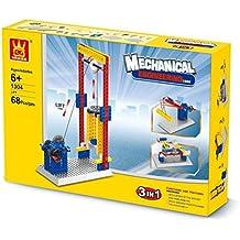 Juego de bloques para aprender los principios de la mecánica. Construye un elevador, una grúa o una silla giratoria.