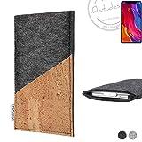 flat.design Handy Hülle Evora für Xiaomi Mi8 Youth handgefertigte Handytasche Kork Filz Tasche Case fair dunkelgrau