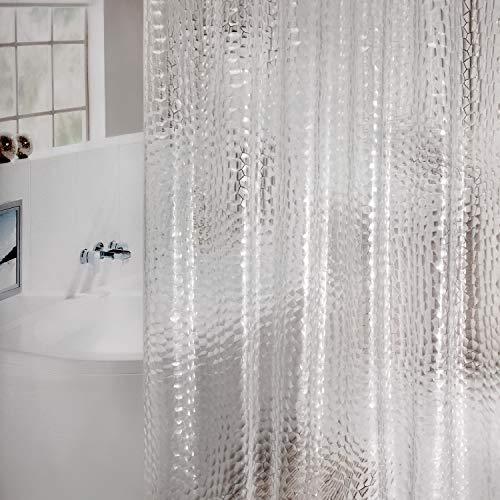 WELTRXE Duschvorhang Anti-Schimmel, Wasserdicht Vorhang an Badewanne Antibakteriell, 0.15mm [180x180cm] weiß Vorhang für Dusche 3D Cube, 100% Eva, inkl. 12 Duschvorhangringen Eva Cube