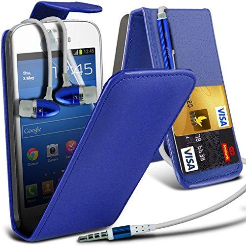 Samsung Galaxy S5 Neo hülle Tasche (Grün + Kopfhörer) Slim-Fit-Abdeckung für Samsung-Galaxie-S5 Neo-hülle Tasche Haltbarer S Linie Wellen-Gel-Kasten-Haut-Abdeckung + mit Aluminium Earbud Kopfhörer, Po PU Flip + Earphone ( Blue )